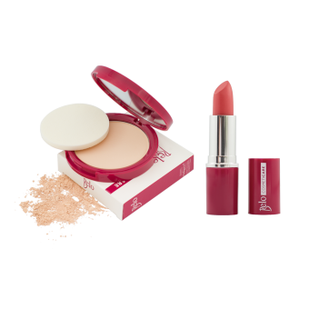 Harga Belo Cosmeticare Face Powder (Light) with Lipstick (Coral)