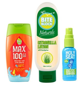 Beach Hut SPF100++100ml with Bite Block Naturals Insect Repellent Citronella Lotion 100ml with Holy Seat Toilet Seat Sanitizer Price Philippines