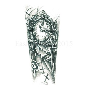 Harga Waterproof Nordic Old Clock Temporary Tattoo Body Arm Leg Art Stickers Removable