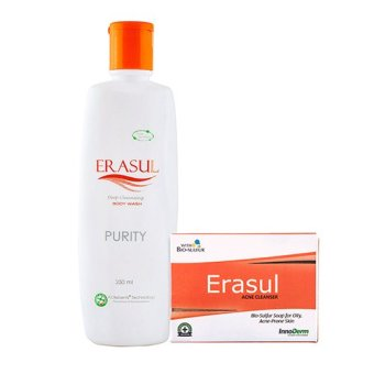 Harga Active Life Pack - ERASUL Purity Body Wash 250ml and ERASUL Acne Cleanser Soap 90g (13036060, 13036061)