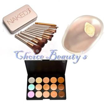 Harga Naked 12pcs Brush with Silicone Make Up Sponge and 15 Concealer Palette