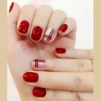 Harga 24 Pcs/set Fake Nail Bright Wine Red Double Line False Nails with Glue - intl