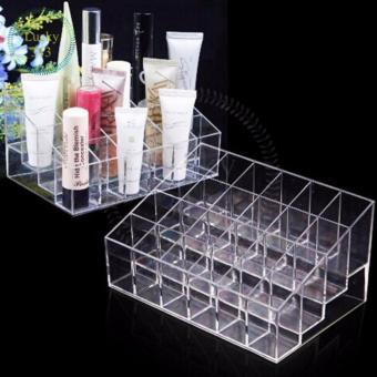 Lipstick Holder Display Stand Cosmetic Organizer 24 Slots Clear