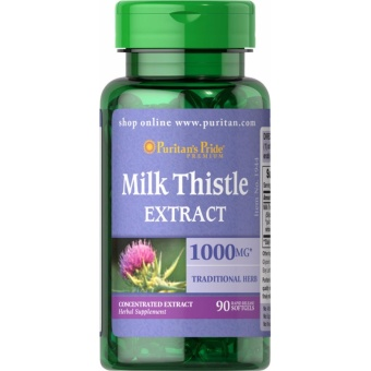 Liver Cleanse Milk Thistle(Silymarin) Extract 1000 mg, 90 Softgels Puritan's Pride Milk