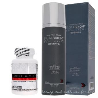 LUXXE WHITE REVEAL INSTABRIGHT BODY CREME - SPF 25 AND LUXXE WHITE GLUTATHIONE CAPSULES 775mg bottle of 60