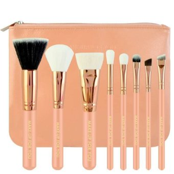 Make-Up For You 8pcs Brush with Cosmetic Make Up Bag (Pink)