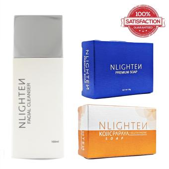 Nlighten Skin Toner Set 9Nlighten Facial Cleanser, Nlighten PremiumSoap, Nlighten Kojic Papaya Soap)
