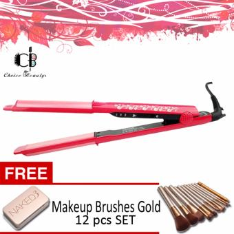 NOVA NHC-822 Professional Ceramic Hair Straightener (Pink) withFREE Makeup Brushes Gold 12pcs SET
