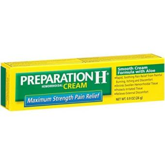Preparation H Hemorrhoid Symptom Treatment Cream Maximum Strength Pain Relief with Aloe Tube (0.9 Ounce) (Pack of 3)