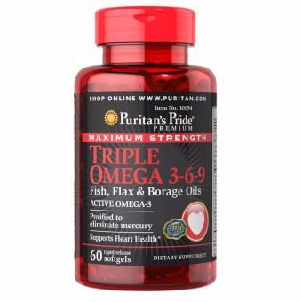 PURITAN'S PRIDE #10154 Triple Omega 3-6-9 Fish, Flax & BorageOil, 60 Rapid Release Softgels Price Philippines