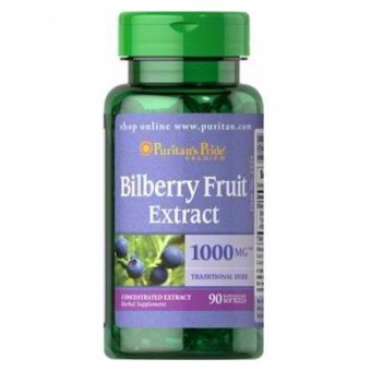 Puritan's Pride Bilberry Fruit 4:1 Extract 1000mg for Eye healthand Vision care, Anti-cancer, Heart health 90 softgels