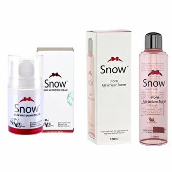 Snow Skin care Toner Pore-minimizing Whitening100ml and Snow White Anti-aging Whitening Cream 50ml Bundle Set