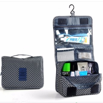 Travel Folding Wash Toiletry Bag Hanging Women Make Up Cosmetic Case Organizer Navy Blue - Intl