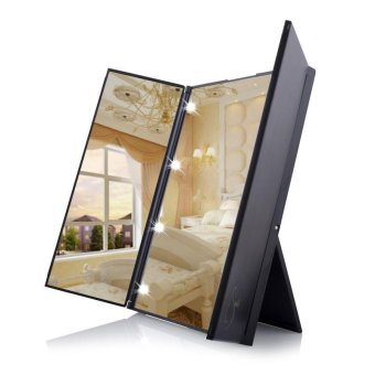 Tri Fold Adjustable Led Lighted Touch Screen Make-up Mirror With 8 LED Light - intl
