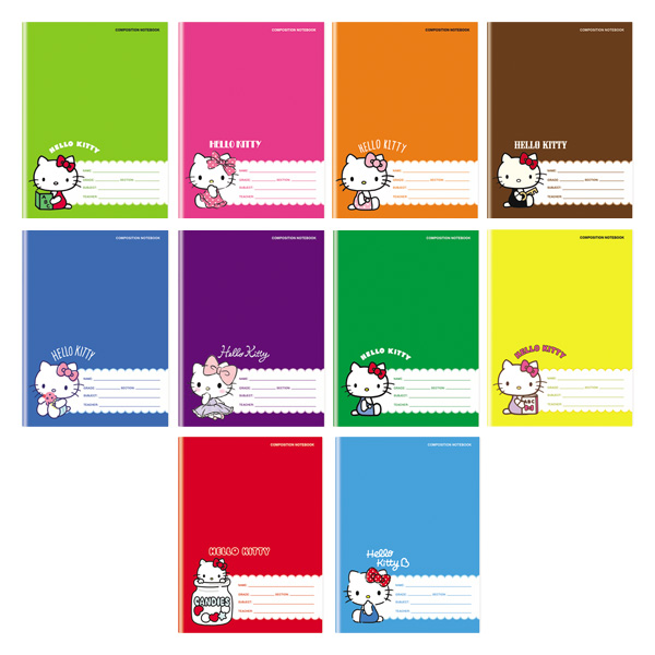 Image of Orions Hello Kitty Color Coding Composition Notebook Set of 10