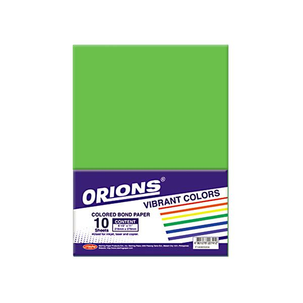 Image of Orions Vibrant Color Colored Bond Paper 10's - Green