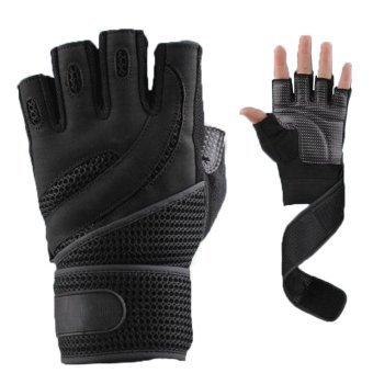 1 Pair Weightlifting Training Fitness Gloves Wrist Wrap Exercise M (Black)