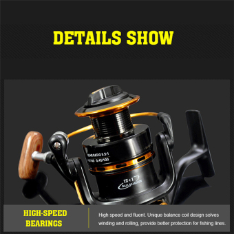 2016 Best Quality Spinning reel fishing reel YA5000 13BB 5.5:1spinning reel casting fishing reel lure tackle line(black)