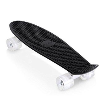 22 Inch Cruiser Skateboard Plastic Banana Board with Bendable Deck and Smooth PU Casters for Kids Boys Youths Beginners ,Multiple Colors - intl