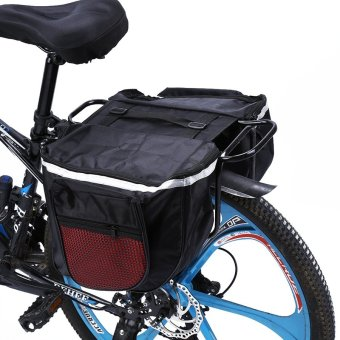 25L Waterproof Mountain Road Bicycle Bike Rack Back Rear Seat Tail Carrier Trunk Double Pannier Bag Back Rain Cover and Red - intl