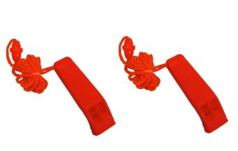 2PCS Double Frequency Safety Emergency Outdoor Survival TacticalRescue Whistle with Lanyard (Orange)