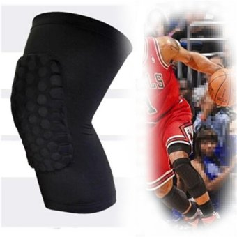 2Pcs Knee Pad Protector Leg Patella Calf Support Guard Sleeve Brace Sports Basketball Black L - intl