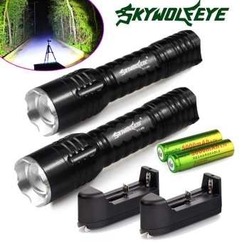 2x6000Lumen Rechargeable Tactical CREE Q5 LED Flashlight +18650Battery&Charger - intl