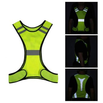 3 LED Lights Cycling Vest Outdoor Sports Running Reflective SafetyVest Gear High Visibility For Exercise Jogging Polyester (Yellow) -intl
