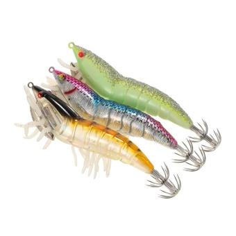 3pcs 12cm/21g Noctilucent Fishing Shrimp Lure Prawn Squid Bait Hard Artificial Fishing Set with Squid Jigs Hook Lead Weighted - intl
