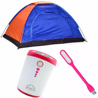 4-Person Dome Camping Tent Bundle With LED Light (Color May Vary)And Powerbank (Color May Vary)
