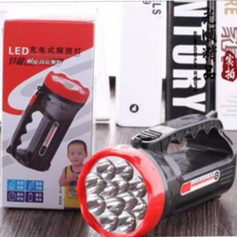 50M Outdoor 9 LED Torch Lamp Rechargeable Light Camping WalkingHiking Searchlight Flashlight