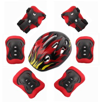7Pcs / set of children's protective equipment skating bike head knee elbow pads (Black) - intl