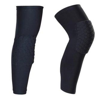 A Pair (Two Pieces) Long Sleeves Sports Basketball Kneepads Honeycomb Knee Pads Leg Brace Sleeve Protective Pad Support Guard Protector Gear-(Size L) - intl