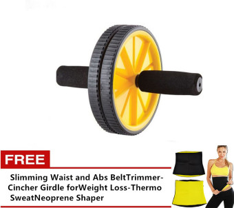 Ab Rocket 110 Wheel Total Body Exerciser (Yellow) with FreeSlimming Waist and Abs Belt Trimmer-Cincher Girdle for WeightLoss-Thermo Sweat Neoprene Shaper Price Philippines