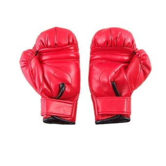 Bang 1Pair Sponge Padded Red Faux Leather Boxing Gloves For Child -intl