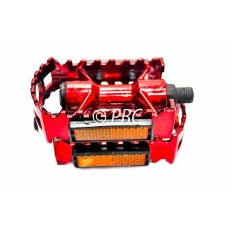 BICYCLE PEDAL ALUMINUM V07 FREESTYLE W/ REFLECTOR RED