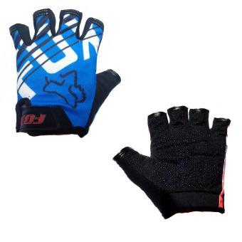 BT0959 Bicycle FDX Bike Half Finger Safety Gloves (Blue-White)