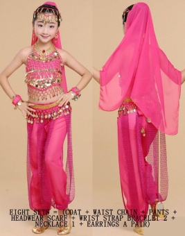 Children's Indian Dance Costumes Belly Dance Children's Performance Costumes Girls Belly Dance Clothing Children's National Dance Clothes Cospaly Costume Size XL - intl