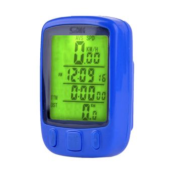 Cyber Wireless Waterproof Bicycle Bike Cycle Wired LCD DigitalComputer Speedometer Odometer LED Backlight (Blue) - intl