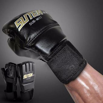 Fancyqube Gym MMA Muay Thai Training Punching Bag Half MittsSparring Boxing Gloves - intl