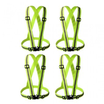 Garterized Safety Vest Reflective Set of 4 (Luminous Green)