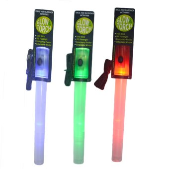 Glow and Torch Led Flashlight Stick with Whistle Set of 3