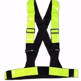 Heavy Duty Reflective Tape Reflector Safety Motor Vest with Strap(Yellow Green)