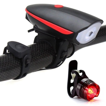 """""""huohu Bike Lights Set Bicycle Headlight with Horn 120 Db and Tail Light, Ultra Brightness and Waterproof LED Bike Light, Easy to Install for Cycling Safety Flashlight - intl"""""""