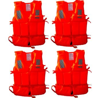 Harga 4 PCS Professional Adult Working Rescue Life Jacket Foam Vest with Whistle