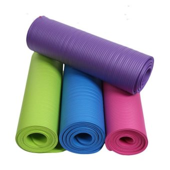 Harga Yoga mat upset Yoga mat natural rubber NBR antiskid widened 10 mm sports fitness MATS factory direct sale - intl