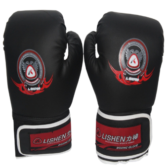 Harga Lishen LS0725 Professional Boxing Gloves (Black)