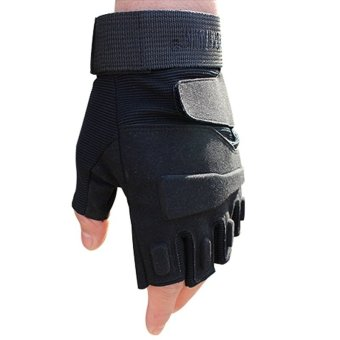 Harga Half Finger Skid Motion Microfiber Wear Silica gel Fitness Tactical Gloves- Intl