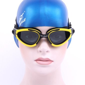 Whale stylish curved lens swimming goggles Male Female Swimming Glasses Anti-Fog Waterproof Eyewear Swimming Mask Adult yellow Price Philippines