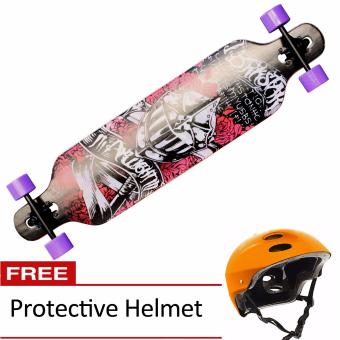 "41"" x 9.6"" Knight and Roses Free-ride Drop-Through Chamber Deck Longboard (Black/Red/White) with FREE Protective Helmet Price Philippines"